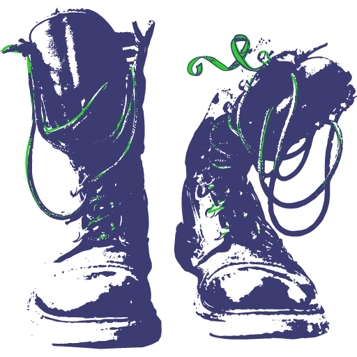 Graphic rendering of a pair of boots with green laces.